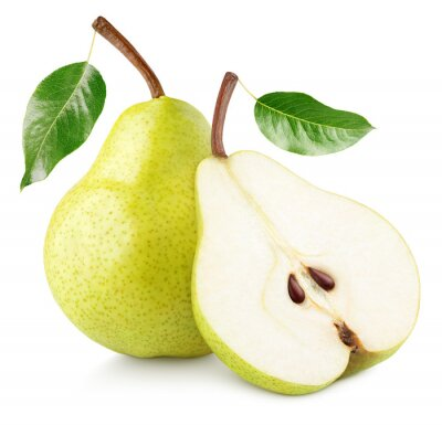 Naklejka Green yellow pear fruit with pear half and green leaves isolated on white background with clipping path. Full depth of field.