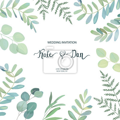 Greenery floral card with eucalyptus branch. Vector botanical illustration. Watercolor style