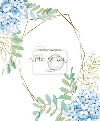 Greenery geometric card with leaves, eucalyptus and  hortensia. Perfect for wedding, frame, pattern, greeting card, invitations, lettering. Watercolor style. Vector illustration