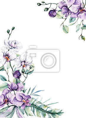 Greeting card frame border with watercolor flowers orchids and leaves. Tropical design for wedding stationary, background, postcard etc. Hand painting.