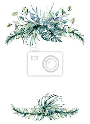 Greeting card frame border with watercolor leaves. Tropical design for wedding stationary, background, postcard etc. Hand painting.