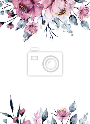 Greeting card frame border with watercolor pink flowers, botanical hand painting, isolated on white background.