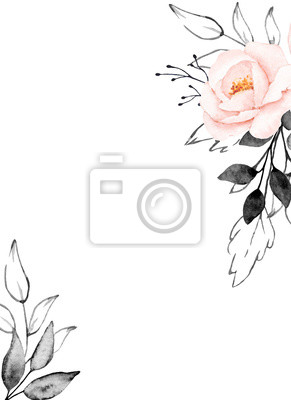 Greeting card template, watercolor flowers, frame with pink peonies and gray lines leaves, floral illustration hand painted. Isolated on white background.