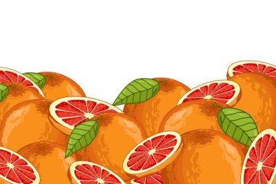 Naklejka Grejpfrutów samodzielnie na białym tle. Grejpfrut skład, rośliny i liście. Jedzenie organiczne. Grejpfruty rastrowych.