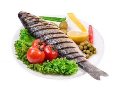 Naklejka Grillowana ryba z warzywami.