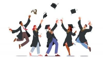Naklejka Group of Male and Female Characters in Graduation Gowns and Caps Rejoice, Jumping and Cheering Up Happy to Get Diploma