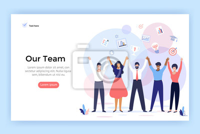 Naklejka Group of people making high hands, business team concept illustration, perfect for web design, banner, mobile app, landing page, vector flat design