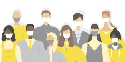Group of people wearing medical masks to prevent disease. Modern vector illustration in a flat style