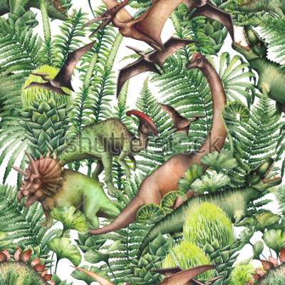 Naklejka Group of realistic watercolor dinosaurs surrounded by lush prehistoric plants. Animals of Jurassic period. Hand painted seamless pattern
