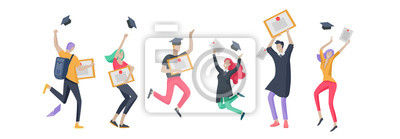 Naklejka Group smiling graduates people in graduation gowns holding diplomas and happy Jumping. Vector illustration concept graduation ceremony cartoon style