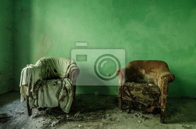 Naklejka gruener Raum mit Sessel