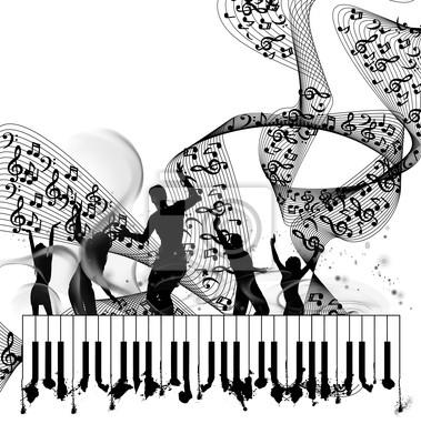Grunge background music piano z linii notatki