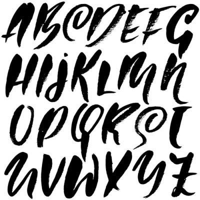 Naklejka Grunge cierpienia czcionki. Nowoczesne litery atramentu suchego pędzla. Odręczny alfabet. Ilustracji wektorowych.