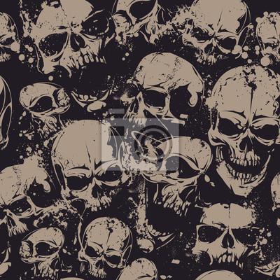 Naklejka Grunge czaszki bez szwu