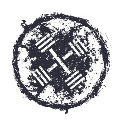 Naklejka grunge emblemat z skrzyżowane sztangi ilustracji wektorowych, eps10