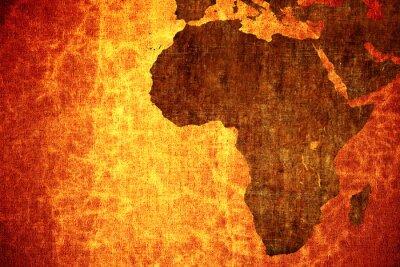 Naklejka Grunge rocznika porysowany Afryki Mapa tło.
