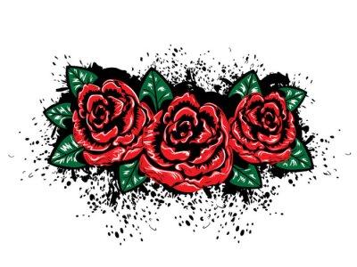 Naklejka Grunge Róże z splatters