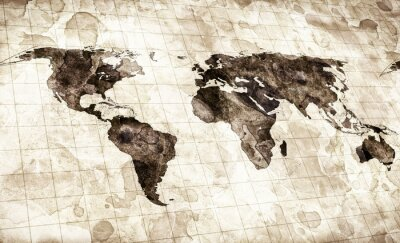 Naklejka grunge stained map of the world