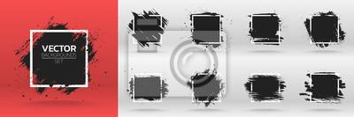 Naklejka Grunge tła zestawu. Pędzel farby czarnej farby nad ramką kwadratową. Ilustracji wektorowych