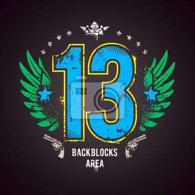 Grunge wydrukować z lucky 13 liczby