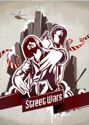 Grungy plakat z dwóch gangsterów