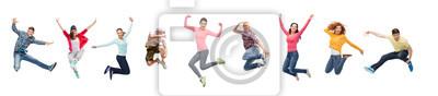 Naklejka grupa ludzi lub nastolatków skaczących