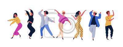 Naklejka Grupa młodzi szczęśliwi dancingowi ludzie lub męscy i żeńscy tancerze odizolowywający na białym tle. Uśmiechnięci młodzi człowiecy i kobiety cieszy się przyjęcia tanecznego. Ilustracja wektorowa kolor