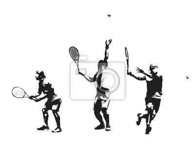 Grupa tenisistów, zestaw sylwetki wektorowej. Rysunki na białym tle atramentem