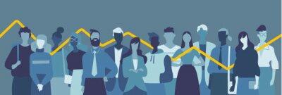 Naklejka Gruppo di giovani persone, donne e uomini, grafico statistico di cambiamento