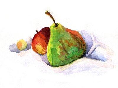 Naklejka gruszka i jabłko, akwarela