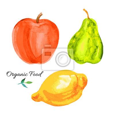Naklejka Gruszka, jabłko, cytryna Akwarele ilustracji na białym tle