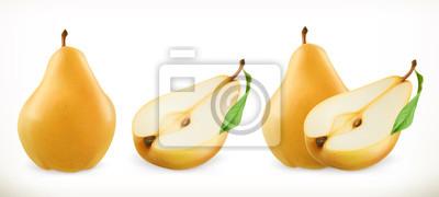 Naklejka Gruszka. Słodkie owoce. 3d zestaw ikon wektorowych. realistyczne ilustracji