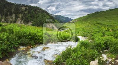 Gruziński natura krajobraz w Svaneti regionie z halną rzeką w średniogórzach. Zielone wzgórza i góry pokryte trawą. Chmurny niebo nad wioską Adishi na horyzoncie, Gruzja.