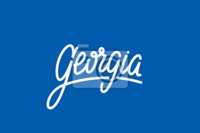 Gruzja USA Słowo Państwowe Logo Ręcznie malowane Szczotka Szablon Logo Kaligrafii