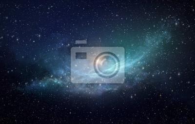 Naklejka Gwiazda pola i mgławica w kosmosie