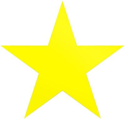 Naklejka Gwiazdka świąteczna żółta - prosta 5-punktowa gwiazda - na białym tle