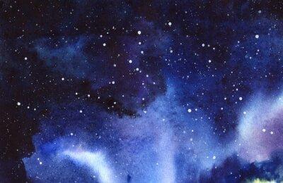 Naklejka Gwiaździste niebo w nocy. Ręcznie rysowane na mokro papieru prawdziwe akwarela ilustracja.