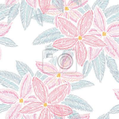Naklejka Haft kwiatowy wzorek bez szwu
