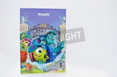 Naklejka Hai, Ukraina - 28 lutego 2017: Animowane Disney Pixar książka produkcji filmów kreskówki Monsters, Inc 2: Monsters University na białym tle.