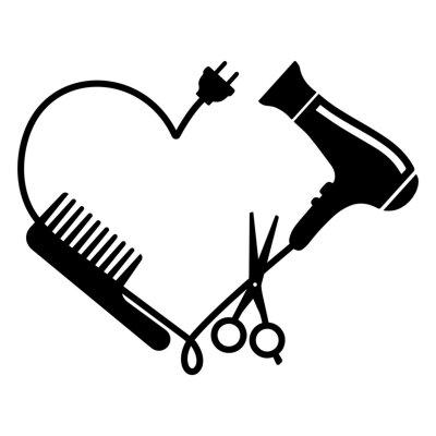 Naklejka Hairdresser logo vector: comb, hair dryer and scissors