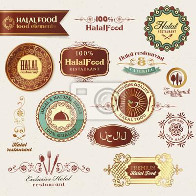 Halal etykietach żywności i elementy