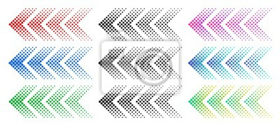 Naklejka Halftone arrows. Color web arrow with dots. Colorful dotted moving forward and download symbols. Direction signpost gradient arrows web logo. Isolated colorful vector icons set