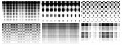 Naklejka Halftone gradient. Dotted gradient, smooth dots spraying and halftones dot background seamless horizontal geometric pattern vector template set. Abstract dot gradient halftone pattern illustration