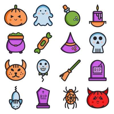 Halloween linii prostej kolekcji ikon. Proste elementy wektora
