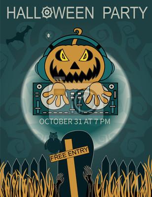 Halloween Party szablon z dj Dynia i miejsce dla te