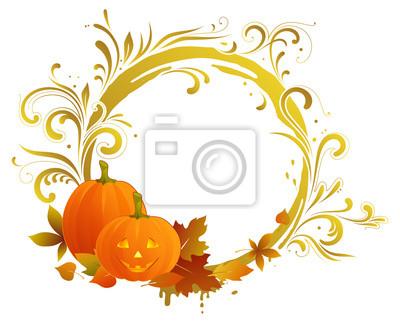 Halloween przewijania okrągłe ramki