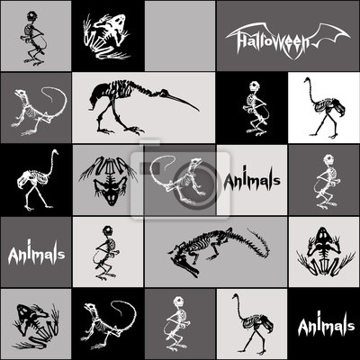 Halloween zwierzęta - czarne i białe szkielety gadów (krokodyle, jaszczurki, żaby), małpy i ptaki (strusie i czaple) w kolorze szarym, czarnym, białych kwadratów i prostokątów. Jednolite wzór