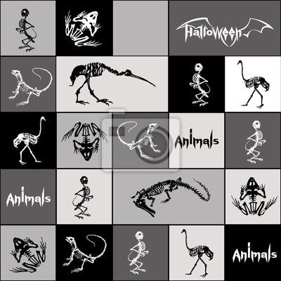 Halloween zwierzęta - czarne i białe szkielety gadów (krokodyle, jaszczurki, żaby), małpy i ptaki (strusie i czaple) w kolorze szarym, czarnym, białych kwadratów i prostokątów. Szwu.