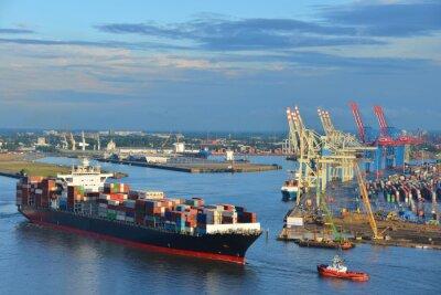 Naklejka Hamburger Hafen, Containerschiff, kontenerowy, Schlepper, Vorhafen, Elbe, Hamburg