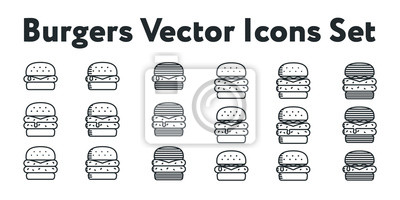 Hamburger i Double Cheeseburger Black Bun Zestaw Minimalnych Linii Wektorowych Kolekcji Icon